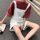 吊帶短褲 牛仔背帶短褲女2021夏季新款韓版大碼胖妹妹寬鬆顯瘦休閒連體褲子 韓國時尚 618