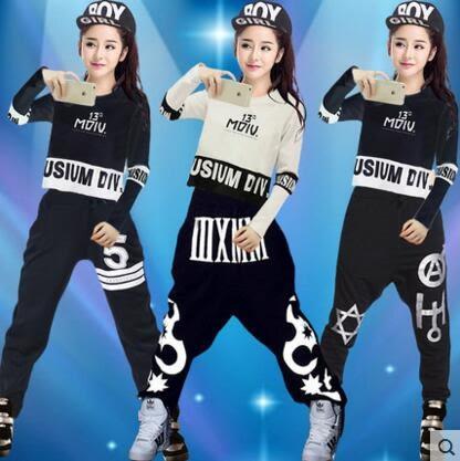 熊孩子&熊孩子與秋冬新款女學生嘻哈街舞爵士舞演出表演服裝成人時尚現代舞演出服