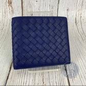 BRAND楓月 BOTTEGA VENETA BV 藍紫色 紫色 兩折 編織 短夾 錢包