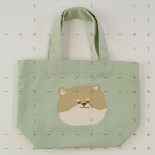 【日本厳選】文青風【無辜眼神-柴犬胖麥芽】 粉綠色柴犬帆布手提包