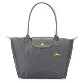 Longchamp 2605 LE PLIAGE 奔馬刺繡長提把小型尼龍摺疊水餃包(鐵灰色)480208-300