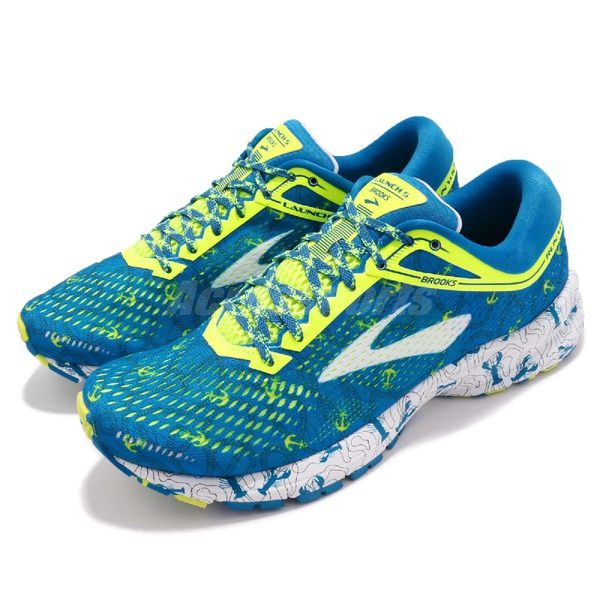 Brooks 慢跑鞋 Launch 5 Boston Marathon 藍 黃 透氣網布 避震 男鞋 運動鞋【PUMP306】 1102781D417