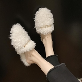 毛毛拖鞋女秋冬新款韓版網紅女鞋子外穿百搭平底包頭半拖鞋潮   koko時裝店
