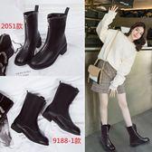 中筒靴 馬丁靴女英倫風前拉鍊女靴粗跟舒適短靴保暖中筒靴單靴 維多原創