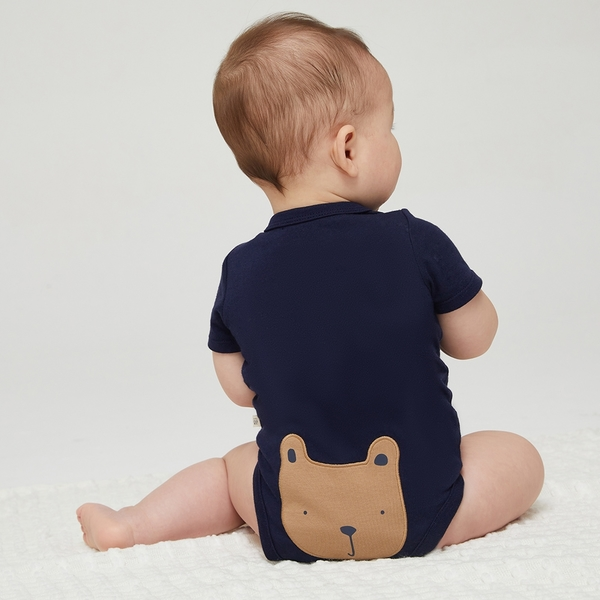 Gap嬰兒 純棉舒適搭肩圓領包屁衣 736682-海軍藍