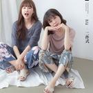 莫代爾T恤+大花朵鬆緊長褲睡衣套裝-BA...