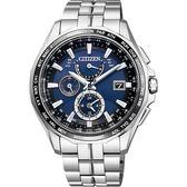 【CITIZEN】星辰 光動能電波鈦金屬腕錶-藍x銀/42mm AT9090-53L