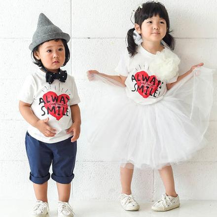 韓版笑口常開字母印花短袖上衣親子裝(小孩)