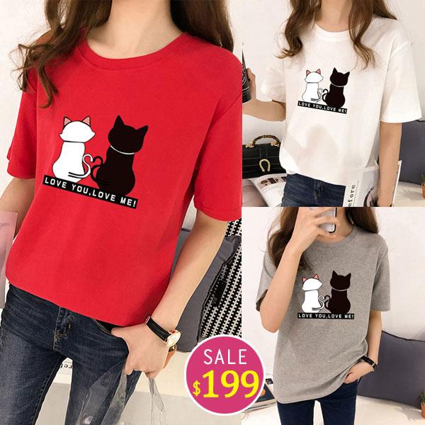 BOBO小中大尺碼【4337】寬版貓咪背影短袖衣 共5色 現貨