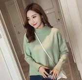 EASON SHOP(GU4661)韓版側開叉前短後長坑條紋高領毛衣針織圓領長袖上衣女上衣服素色彈力貼身內搭衫