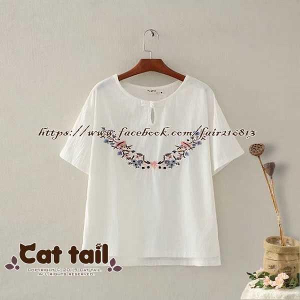 《貓尾巴》CH-01376 文藝花朵刺繡短袖T恤(森林系 日系 棉麻 文青 清新)