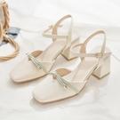 潮女涼鞋 2021年夏新款時尚百搭粗跟方頭法式包頭涼鞋女中跟仙女風高跟鞋【快速出貨八折鉅惠】