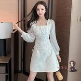 泡泡袖洋裝 甜美仙女超仙森系白色裙子女早秋法式長袖收腰綁帶A字洋裝