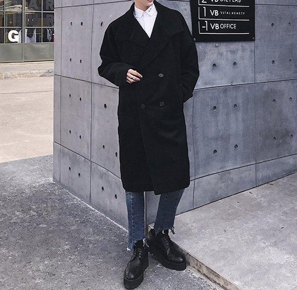 FINDSENSE G6 韓國時尚 男士毛呢大衣青年中長款毛呢外套加厚羊毛风衣