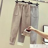 加厚毛呢休閒褲子女2020新款秋冬季直筒羊羔絨外穿打底寬管褲 4.4超級品牌日