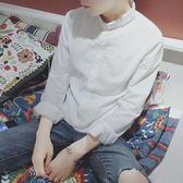 白色長袖襯衫男韓版小領修身白襯衣青少年秋季純棉寸衫亞麻休閒潮 初語生活館
