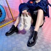 刺繡馬丁鞋女2018秋季新款韓版小皮鞋英倫風短筒靴布洛克鞋單鞋子