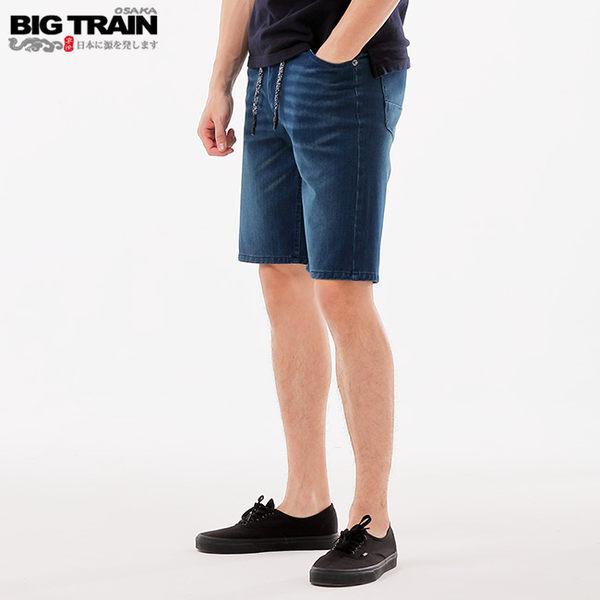 BigTrain加大吸排汗針織丹寧短褲-男-深藍-40
