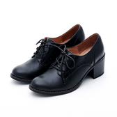 MICHELLE PARK 英倫小曲 雕花條紋高跟牛津鞋-黑