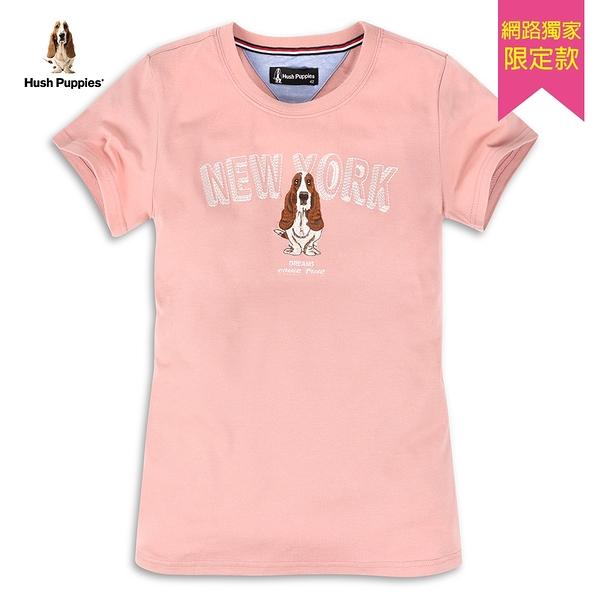 Hush Puppies T恤 女裝純棉字母立體刺繡T恤