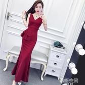 夏裝2019新款女韓版名媛氣質V領無袖高腰荷葉邊包臀裙長裙洋裝