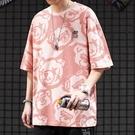 T恤 原宿風情侶裝滿印小熊純棉半袖體恤BF街頭嘻哈寬鬆短袖T恤男 潮流衣舍