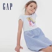 Gap女童迪士尼公主印花短袖洋裝591030-藍白