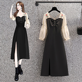 VK精品服飾 韓國風刺繡雪紡拼接紐扣開叉優雅長袖洋裝