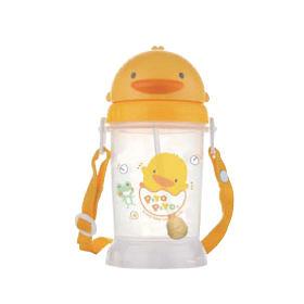 黃色小鴨 自動吸管PP滑蓋水壺350ml(GT83508)