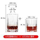 威士忌杯洋酒杯酒具套裝家用歐式創意水晶玻璃杯啤酒杯紅酒醒酒器   汪喵百貨