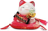 【金石工坊】財源紅紅火堅持貓-綠水晶(高9CM)招財貓 陶瓷開運桌上擺飾 撲滿存錢筒