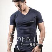 運動短袖T恤男士健身訓練跑步彈力透氣緊身衣男圓領上衣-韓先生