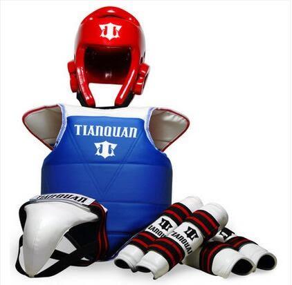 設計師美術精品館天權加厚跆拳道護具五件套一次定型頭盔送護具包新品粘扣設計