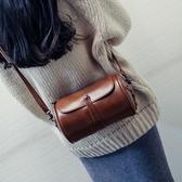 水桶包 森系復古圓桶新款韓版時尚女包簡約百搭定型單肩斜背包潮 - 雙十二交換禮物