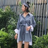 早春新品女裝寬鬆顯瘦不規則拼色系帶中長款學生長袖襯衫連身裙女 鉅惠兩天【限時八五折】