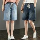 高腰牛仔五分褲2021夏季寬鬆大碼女裝百搭鬆緊腰顯瘦磨白闊腿短褲 8號店