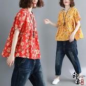 文藝休閒小碎花圓領加肥大尺碼A字型襯衫寬鬆舒適短袖上衣 週年慶降價