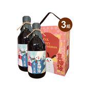 (Party限定版)豆油伯 金美滿(無添加糖)純釀醬油500ml*6瓶 送歡樂派隊2入禮盒*3個