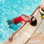 韓國泳衣女性感深V露背顯瘦遮肚高腰連體保守泳裝溫泉 時尚潮流部落 免運