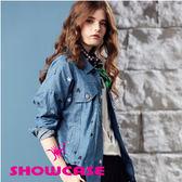 【SHOWCASE】休閒刺繡落肩牛仔外套(藍)
