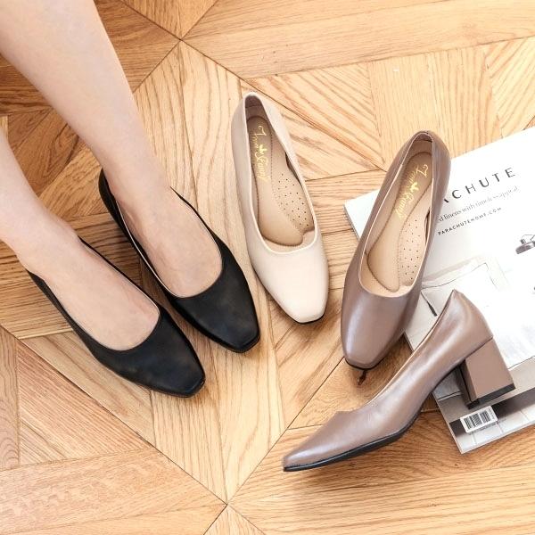 高跟鞋.MIT韓版迷人素色方頭皮革粗跟包鞋.白鳥麗子