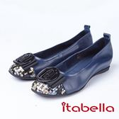 itabella.軟Q舒適 拼接造型包鞋(8555-50藍色)