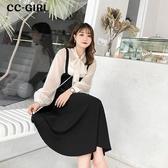 中大尺碼 黑色吊帶背心裙長洋裝 - 適XL~5L《 7010 》CC-GIRL