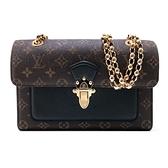 【台中米蘭站】全新品 Louis Vuitton Monogram Victoire 金鍊掀蓋斜背包(M41730-黑)