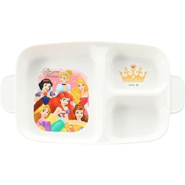 小禮堂 迪士尼 公主 日本製 方形三格餐盤 (粉星星款) 4984909-13406