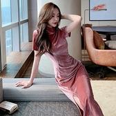年會禮服 輕熟風女人味絲絨連衣裙女新款日常改良旗袍年會禮服裙子【快速出貨八折下殺】