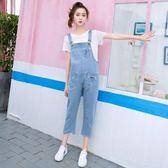 150Cm嬌小矮個子女褲夏季高腰寬鬆牛仔褲女韓版八分背帶褲加小碼QM 莉卡嚴選