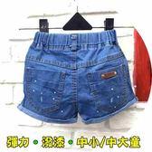 【韓版童裝】彈力潑漆小開叉反摺牛仔小短褲【中小/大童】-藍【BB17051605】
