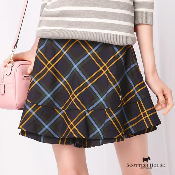 荷葉褲口格紋短褲 Scottish House【AD2201】