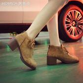 馬丁靴女英倫風學生韓版粗跟高跟短靴百搭圓頭裸靴   莫妮卡小屋